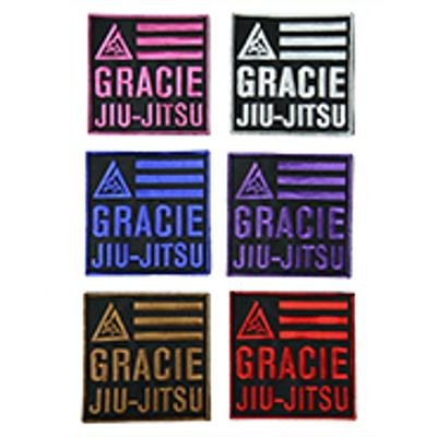 "Gracie Jiu-Jitsu 4x4"" Velcro Patch (White)"
