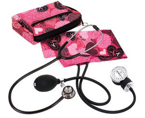 Aneroid Sphygmomanometer / Clinical I Stethoscope Kit, Adult, Ribbons and Hearts Pink, Print