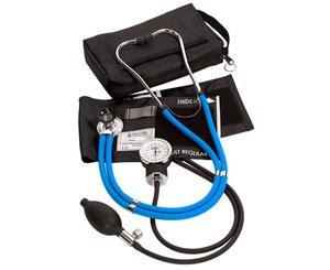 Aneroid Sphygmomanometer / Sprague-Rappaport Stethoscope Kit, Adult, Neon Blue
