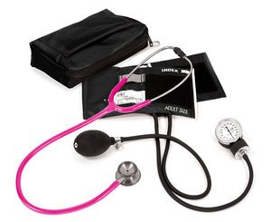 Aneroid Sphygmomanometer / Clinical I Stethoscope Kit, Adult, Neon Pink, Print