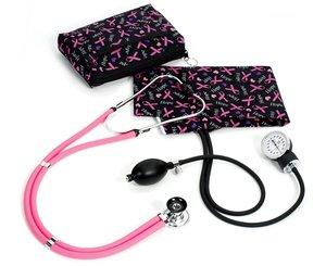 Aneroid Sphygmomanometer / Sprague-Rappaport Stethoscope Kit, Adult, Hope Pink Ribbon, Print