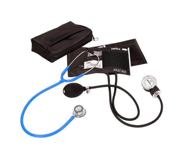 Aneroid Sphygmomanometer / Clinical Lite Stethoscope Kit, Adult, Neon Blue