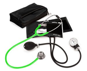 Aneroid Sphygmomanometer / Clinical I Stethoscope Kit, Adult, Neon Green, Print