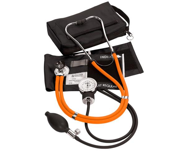 Aneroid Sphygmomanometer / Sprague-Rappaport Stethoscope Kit, Adult, Neon Orange