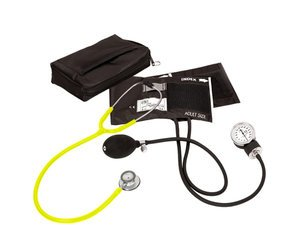 Aneroid Sphygmomanometer / Clinical Lite Stethoscope Kit, Adult, Neon Yellow