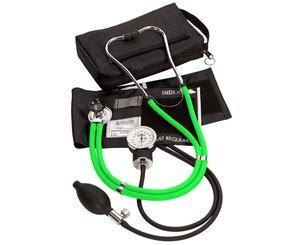 Aneroid Sphygmomanometer / Sprague-Rappaport Stethoscope Kit, Adult, Neon Green
