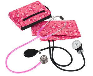 Aneroid Sphygmomanometer / Clinical I Stethoscope Kit, Adult, Hot Pink Hearts, Print