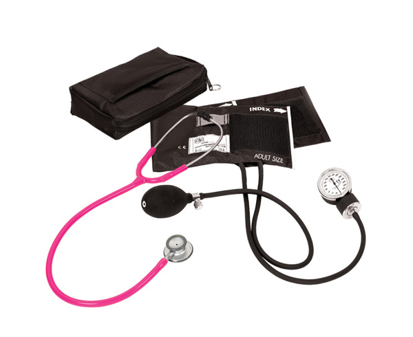 Aneroid Sphygmomanometer / Clinical Lite Stethoscope Kit, Adult, Neon Pink