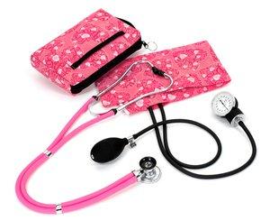 Aneroid Sphygmomanometer / Sprague-Rappaport Stethoscope Kit, Adult, Hot Pink Hearts, Print