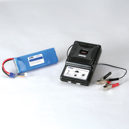 The included Li-Po battery charger will charge the 3200mAh flight battery in about 60 minutes. Just connect the charger to your favorite 12V power source using the convenient alligator clips.