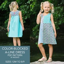 Color-Blocked A-Line Dress Sizes 12M to 8/9 PDF Pattern