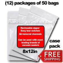 Weston Zipper Seal Vacuum Bags - Pint 8 x 12 (600 ct.) 30-0208-W Wholesale Case Pack w/ Free Ground Shipping