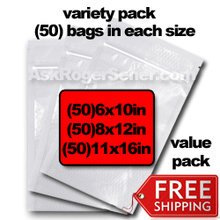 Weston Zipper Seal Vacuum Bags Variety Pack Includes: (50) 6x10 in. , (50) 8x12 in. , (50) 11x16 in. vacuum sealer bags with Free Shipping