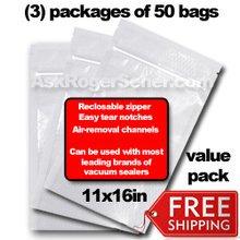Weston Zipper Seal Vacuum Bags - Gallon 11 x 16 (150 ct.) 30-0211-W Bulk Value Pack w/ Free Ground Shipping
