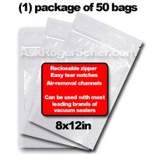Weston Zipper Seal Vacuum Bags - Quart 8 x 12 (50 ct.) 30-0208-W