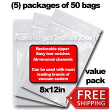 Weston Zipper Seal Vacuum Bags - Pint 8 x 12 (250 ct.) 30-0208-W Bulk Value Pack w/ Free Ground Shipping