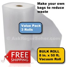 Value Pack of (3) Rolls of 8 in. x50 ft. Vacuum Sealer Bagging  ** FREE Shipping **