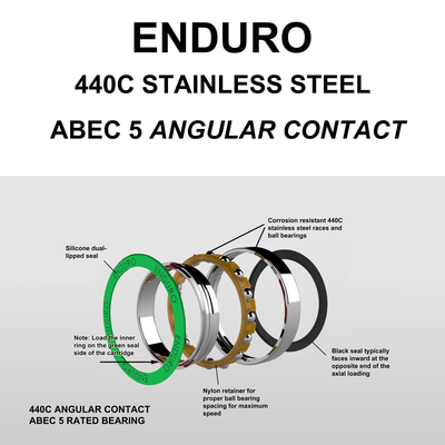 440C Stainless ABEC 5 Angular Contact