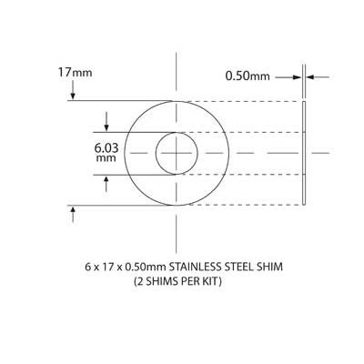 SHIM KIT FOR NEEDLE BEARING KIT 6mm ID x 17mm OD x 0.5mm