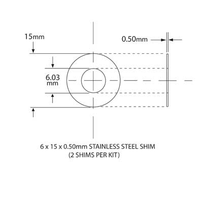 SHIM KIT FOR NEEDLE BEARING KIT 6mm ID x 15mm OD x 0.5mm