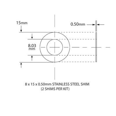 SHIM KIT FOR NEEDLE BEARING KIT 8mm ID x 15mm OD x 0.5mm