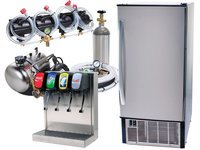 4-Flavor Home Soda Fountain Tower System with Under Counter Ice Maker (S2950)