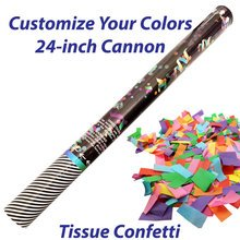 Large single-use confetti cannon filled with tissue confetti.