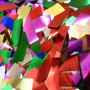 multi-colored metallic confetti
