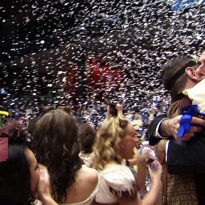 large volume confetti blower shooting metallic confetti into the air