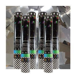 Kit with 6 medium disposable confetti cannons filled with silver metallic confetti.
