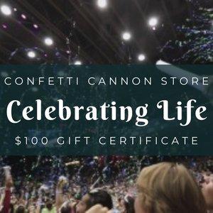 Confetti Cannon Store Gift Certificate for $100