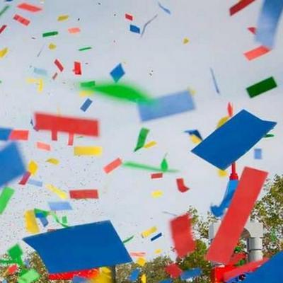 Colorful confetti in the air