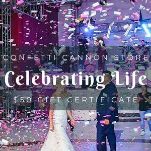 Confetti Cannon Store Gift Certificate for $50