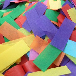 multi-colored tissue confetti