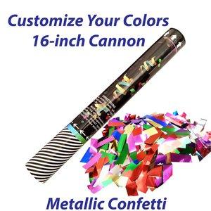 Medium single-use confetti cannon filled with metallic confetti.