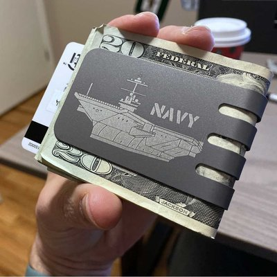 The VIPER™ money clip - NAVY VIPER Titanium Money Clip