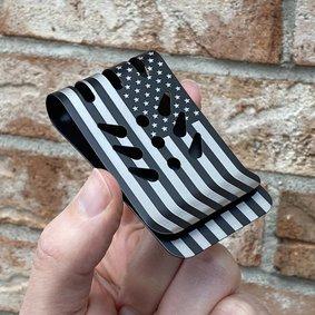 VIPER™ Titanium Money Clip - Black Diamond Finish - Precision Engraved AMERICAN FLAG (both sides)