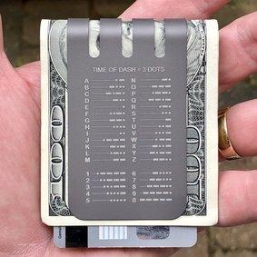 The VIPER™ titanium money clip - MORSE CODE on NASA Optical Gray Finish