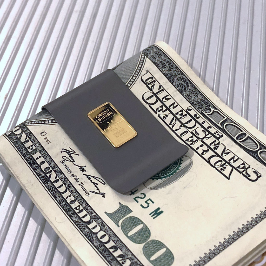 99.2% Pure Titanium Money Clip with 99.99% Pure Credit Suisse Gold Ingot