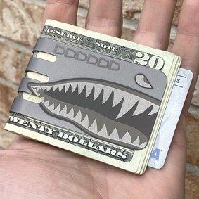 The VIPER™ money clip - PLANE NOSE ART SHARK on NASA Optical Gray Finish