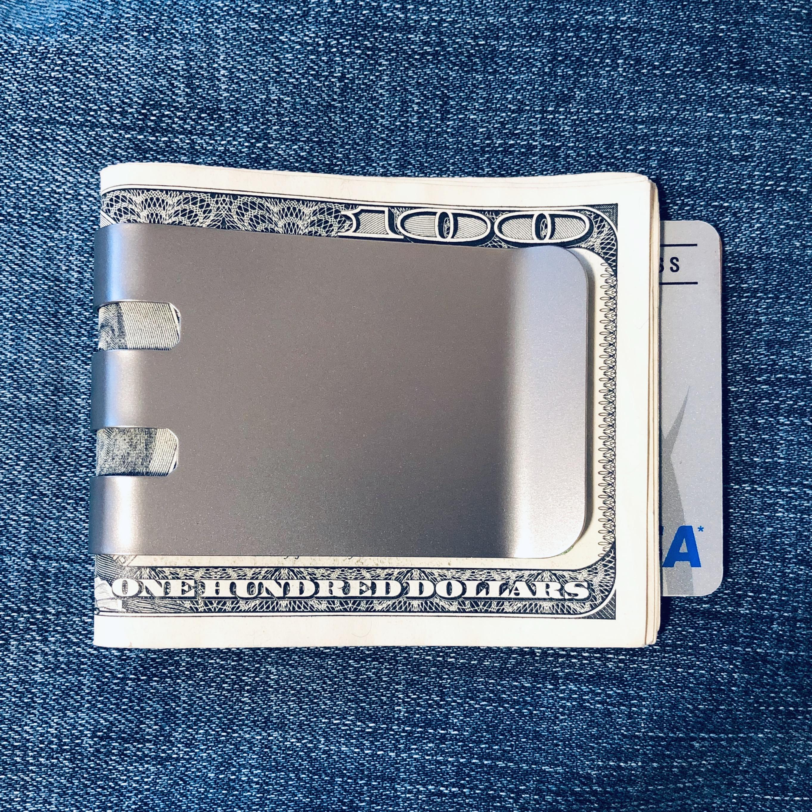 NEW!! COMMANDER™ 2.0 Money Clip - Massive 60 folded bill capacity - Natural Titanium Finish