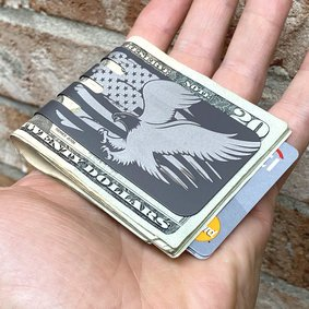The VIPER™ titanium money clip - EAGLE AND FLAG on NASA Optical Gray Finish