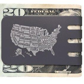 The VIPER™ money clip - USA MAP on NASA Optical Gray Finish