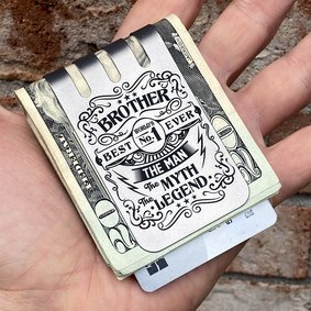 The VIPER™ Money Clip - BEST BROTHER on Natural Titanium Finish