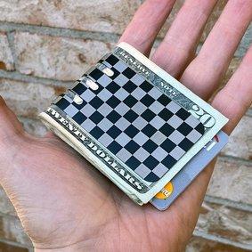 NEW!!  VIPER™ Titanium Money Clip - CHECKERED FLAG (both sides) Black Diamond Finish