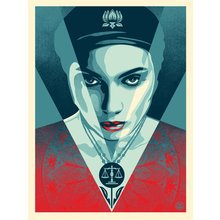 """Obey Giant """"Justice Woman - Blue"""" Signed Screen Print"""