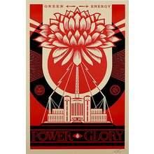 """Obey Giant """"Green Power-Red"""" Large Format Signed Screen Print"""