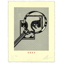 """Obey Giant """"Magnifying Glass - Cream"""" Signed Letterpress"""