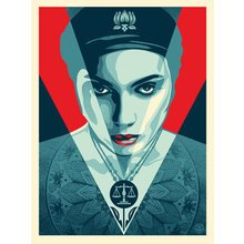 """Obey Giant """"Justice Woman - Red"""" Signed Screen Print"""