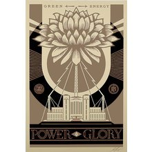 """Obey Giant """"Green Power-Gold"""" Large Format Signed Screen Print"""
